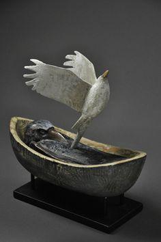 """Ascending"" by Hib Sabin- Wood carver Hib Sabin is inspired by his… Bird Sculpture, Animal Sculptures, Ceramic Birds, Ceramic Art, Crows Ravens, Rabe, Little Doll, Bird Art, Figurative Art"
