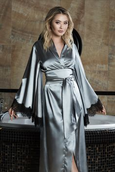 fb9d4fa811 Silk Satin Robe Grey Robe Silk Kimono Women s Robe Satin Dressing Gown