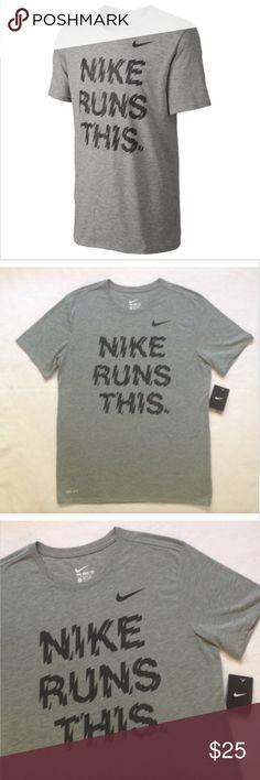 NIKE RUNS THIS Men's Dri-FIT Running Shirt The Nike Runs This Is Men's T-Shirt features front-to-back reflective graphics on soft, sweat-wicking fabric.  Reflective graphics stand out in low light -  Dri-FIT fabric helps keep you dry and comfortable  Collar with internal taping for increased comfort and durability   Ultra-flat stitching to avoid annoying friction   Tagless Fabric: Dri-FIT 75% polyester/13% cotton/12% viscose Nike Shirts Tees - Short Sleeve