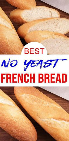 EASY homemade french bread with NO YEAST. Yes, you heard it yeastless bread recipe that is simple, quick and delicious. This is one of my families favorite bread recipes. Easiest Bread Recipe No Yeast, Homemade Bread Without Yeast, Easy French Bread Recipe, Homemade French Bread, Baguette Recipe No Yeast, Dinner Rolls Recipe Without Yeast, No Bake Bread Recipe, French Bread Recipe Without Yeast, Gluten Free French Bread