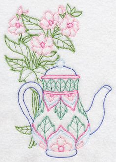 Teapot with Marsh Mallow (Vintage) design (K2383) from www.Emblibrary.com