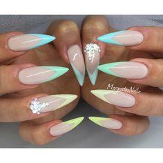 stiletto nails pastel nail art Spring/summer 2016
