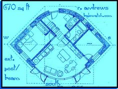PLAN 670 sq. ft. (EYE) two or three bedrooms, one bath-Straw bale plan