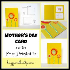 Cute and Easy Mother's Day Card for Kids to Make plus a FREE Printable!