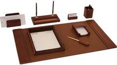 Cognac Italian Leather 8Pc Desk Set
