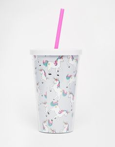 Skinnydip - Bicchiere con unicorni e cannuccia