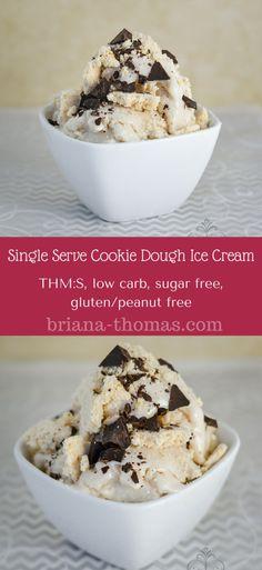 Single-Serve Healthy Cookie Dough Ice Cream...THM:S, low carb, sugar free, gluten/peanut free