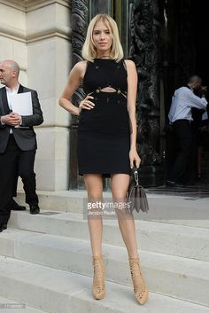 Elena Perminova attends the Versace show as part of Paris Fashion Week Haute-Couture Fall/Winter 2013-2014 at on June 30, 2013 in Paris, France.