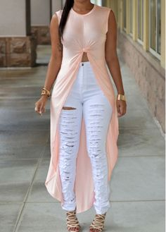 Sleeveless Pink High Low T Shirt with cheap wholesale price, buy Sleeveless Pink High Low T Shirt at rotita.com !