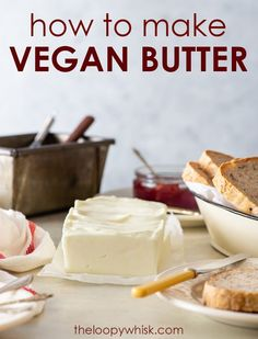 If you want to learn how to make homemade vegan butter – look no further. This vegan butter recipe only includes simple ingredients, with amazing results! Dairy Free Cheesecake, Raw Cheesecake, Dairy Free Butter Recipe, Vegan Butter, Vegan Spread Recipe, Dairy Free Spread, Vegan Frosting, Pear Recipes, Vegetarian Recipes