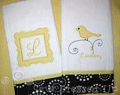 Monogrammed Burp Cloth Set for Baby Girls- Sweet Bird - Personalized Embroidered. $22.00, via Etsy.
