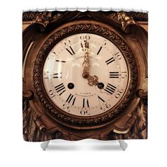 Antique Clock in Sepia Shower Curtain by Carol Groenen #showercurtain #showercurtains #clocks