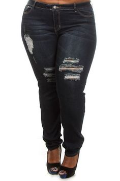Plus Size Distressed Denim Jeans