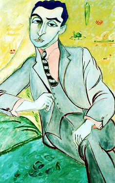 Portrait of the Artist Isaac Grunewald by Sigrid Hjerten (1885-1948) ....striped tie, pink shirt, grey suit....Grunewald was a Swedish-Jewish painter - 1889-1946.