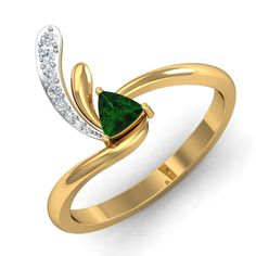 Emerald Ring 0.09 Ct Real Certified Diamond Gold Office Wear
