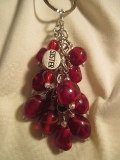 Red Glass Bead Purse Charm / Key Chain by FoxyFundanglesByCori, $10.00