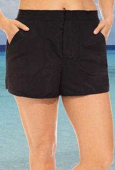 SwimsuitsForAll - s4a Chlorine Resistant Black Cargo Short - AdoreWe.com
