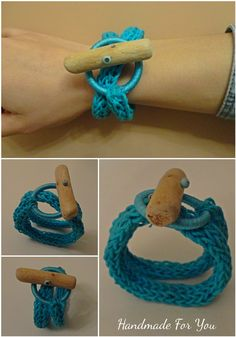 Knot bracelet. Natural driftwood bracelet. French Knitted Bracelet with Driftwood Button