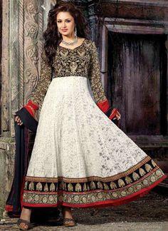 White  Net Jacquard Ankle Length Anarkali Suit