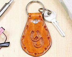 Double Horseshoe Leather Key Fob, Horseshoe Leather Keychains, Inspirational Gift For Friend, Good Luck Gift, Dream Gift, Inspire Gift HSM56