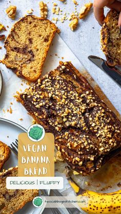 The best VEGAN Banana Bread - original recipes, delicious, fluffy and healthy.#easyrecipes #quickrecipes #healthyrecipes #veganfoodie #vegan #veganbananabread #bananabread #healthy #easy #glutenfree #fit #chocolate Quick Recipes, Vegan Recipes, Italian Cake, Vegan Banana Bread, Good Fats, Original Recipe, Fett, Food Dishes, Cakes