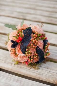 peach and navy bridal bouquet / photographed by DeFiore Photography / styled by Hana Style Designs