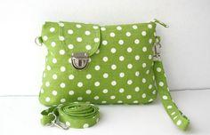 Apple Green and White Polka Dot  Midi Messenger  Bag  Wirstlet and  shoulder Adjustable strap Zipper Closure. $27.00, via Etsy.