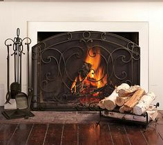 Aspen Single Screen Fireplace Collection #potterybarn ~~~ On my to get list for this FALL!!  Lovin' Fireplace Screen