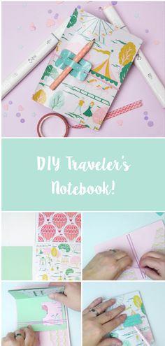 How to make a traveler's notebook - VIDEO Diy Craft Journal, Creative Journal, Bujo, Bullet Journal, Junk Journal, Bookbinding Tutorial, Diy Calendar, School Accessories, Diy Notebook