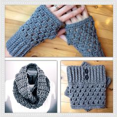 Boot cuff set with infinity scarf, and fingerless gloves.  Perfect for gifts! -gray color by GrindleHillFineGoods on Etsy