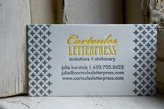 yellow gray letterpress business cards Business Card Ideas and Inspiration Business Invitation, Letterpress Business Cards, Letterpress Invitations, Letterpress Printing, Business Branding, Business Card Logo, Business Card Design, Creative Business, Stationery Design