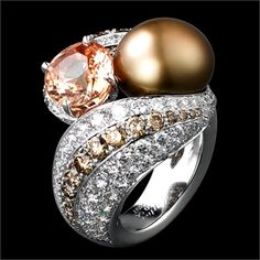 Cartier Ring, Solar Landscape – Ring – platinum, one 5.38-carat padparadscha sapphire, one 54.63-grain natural pearl, brown diamonds, brilliants.  Nils Herrmann © Cartier 2012