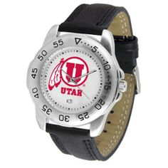 """Utah Utes NCAA """"Sport"""" Mens Watch (Leather Band) by SunTime. $42.30. Calendar Date Function. Scratch Resistant Face. Rotation Bezel/Timer. This handsome, eye-catching watch comes with a genuine leather strap. A date calendar function plus a rotating bezel/timer circles the scratch-resistant crystal. Sport the bold, colorful, high quality logo with pride."""
