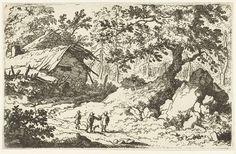 Allaert van Everdingen | Drie wandelaars bij een vervallen huis, Allaert van Everdingen, 1631 - 1675 | Landschap met drie personen en een hond op een pad bij een vervallen huis.