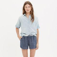 """Our sporty-meets-polished take on classic pull-on running shorts, this dolphin-hem pair is especially versatile in a unique textured fabric. A button-down, a sweatshirt—it all works with these shorts. <ul><li>True to size.</li><li>Sit at hips.</li><li>3 1/4"""" inseam.</li><li>Linen/cotton.</li><li>Machine wash.</li><li>Import.</li></ul>"""