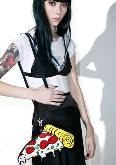 Cheap Monday Pizza Bag cuz yer hot n ready, bb. This super dank pizza purse features a zip top, in a cartoon design of a supreme slice of pizza, and has a detachable strap.