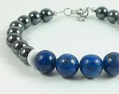 Handmade men's hematite, Lapis, UK fan colors, Kentucky bracelet.