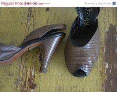 1950s Alligator Skin Peep Toe Sling Back Pump ===> Rare Larger Size! ===> $74.00