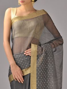 Black Zari Chanderi Silk Saree on Jaypore