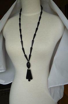 AARIKKA-Black-Wood-Pendant-amp-Beads-Long-Necklace-w-Elastic-Band
