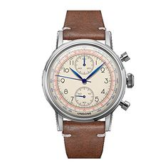 "Undone ""Urban Orologi che Passione"" Chronograph Hybrid Mechanical Quartz Stainless Steel White Leather Brown Vintage Men's Watch"