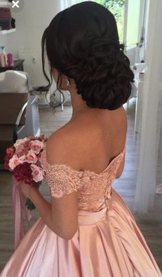 Item:Pink Ball Gowns Occasion:Prom,Evening,Formal,Quinceanera,Wedding Process Ti… – My CMS Sweet 16 Hairstyles, Quince Hairstyles, Bride Hairstyles, Hairstyles For Long Hair Wedding, Formal Hairstyles, Quince Dresses, Ball Dresses, Ball Gowns, Prom Dresses