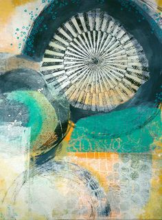 "from ""every colour in the box"" - adding paint & collage to a gelli print to create a finished art piece"