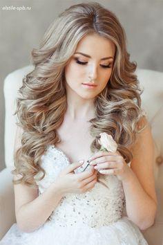 long wavy wedding hairstyle