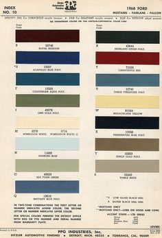 """1968 Mustang colors, good to have on hand.  Ours is """"Acapulco Blue"""""""