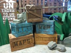 made cargo boxes from cardboard and foam board for trim for journey off the map VBS Off The Map, Safari Theme, Fiesta Safari, Jungle Theme, Jungle Safari, Safari Party, Church Stage, Kids Church, Church Camp