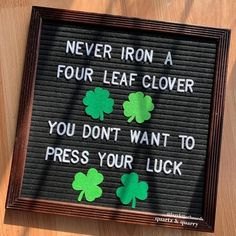 Letter Board Shamrock Set of 4 / St Patricks Day Felt Letterboard Accessories / Four Leaf Clover Word Board, Quote Board, Message Board, Felt Letter Board, Felt Letters, Letterboard Signs, Funny Signs, Sign Quotes, Me Quotes