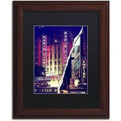 Trademark Fine Art 'Times Square Theater District' Canvas Art by Philippe Hugonnard Black Mat, Wood Frame