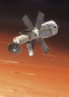 Soviet heavy interplanetary spacecraft destined for Mars -TMK, art by Maciej Rebisz Constellations, Kerbal Space Program, Space Opera, Arte Sci Fi, Starship Concept, 70s Sci Fi Art, Cyberpunk, Spaceship Design, Concept Ships