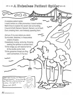 Coloring Page Poems: A Noiseless Patient Spider by Walt Whitman -